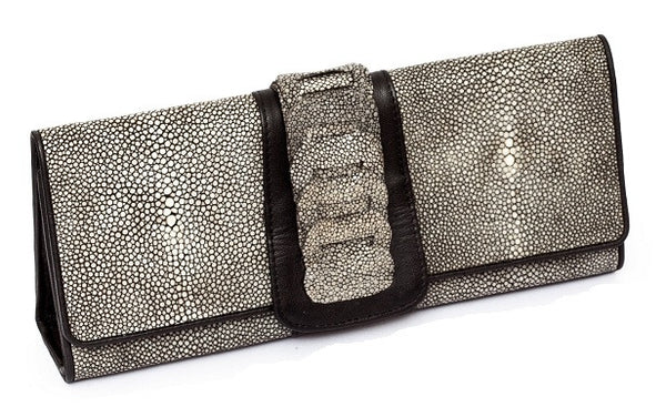 Black Stingray Foldover London Clutch