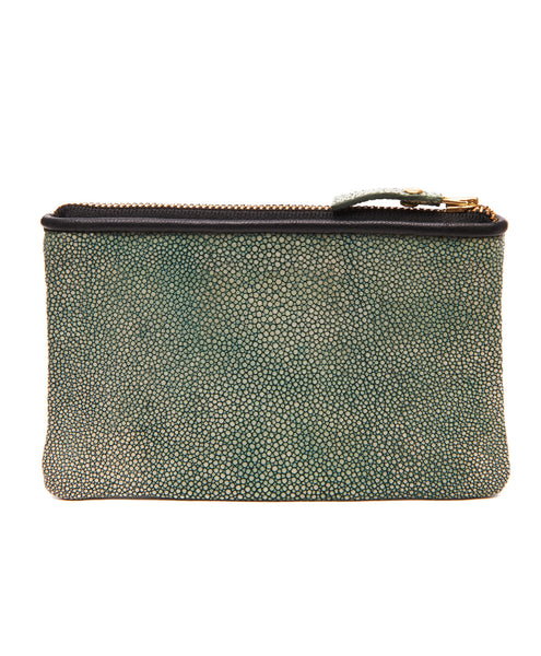 Blue Green Stingray Soft Zip Pouch