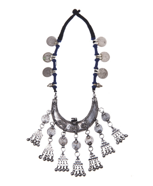 Silver Metal Coin Tassel Navy Thread Kadar Necklace