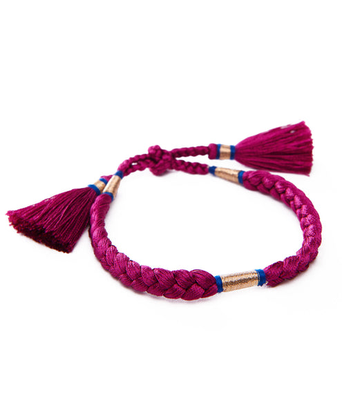 Deep Pink Braided Tassel Gold Metal Tie Bracelet