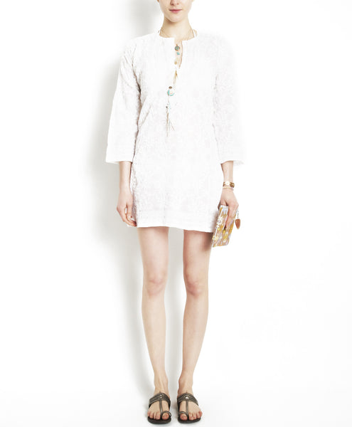 White Cotton Textured Chikan Short Flower Tunic