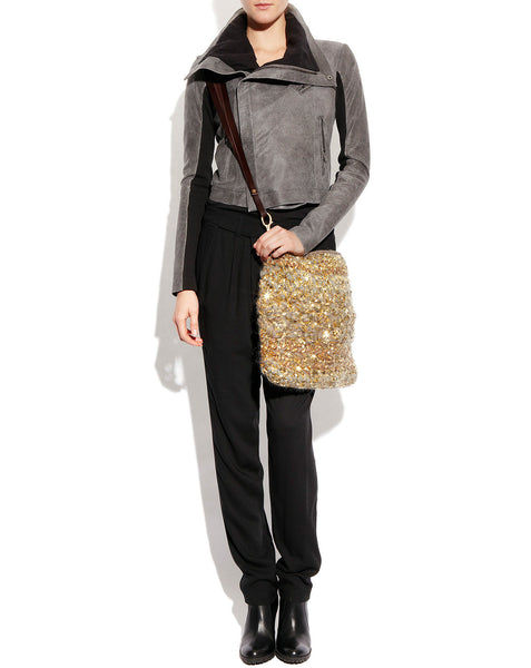 Gold Wool Woven Cinderella Crossbody Bag