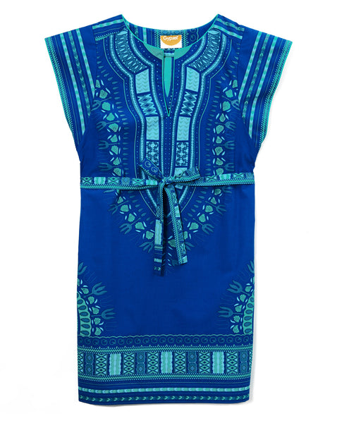 Blue Cotton Turquoise Embroidered Greek Dashiki Belted Mini Dress