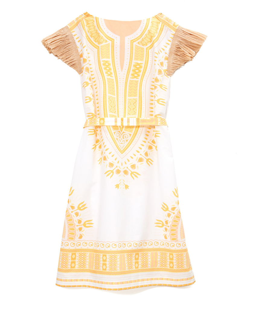 White Cotton Yellow Embroidered Coco Dashiki Weekender Dress