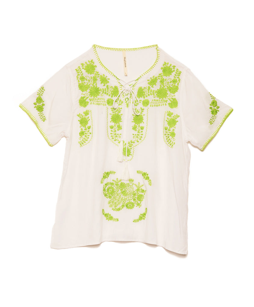 White Rayon Lime Mexican Embroidered Tunic Top