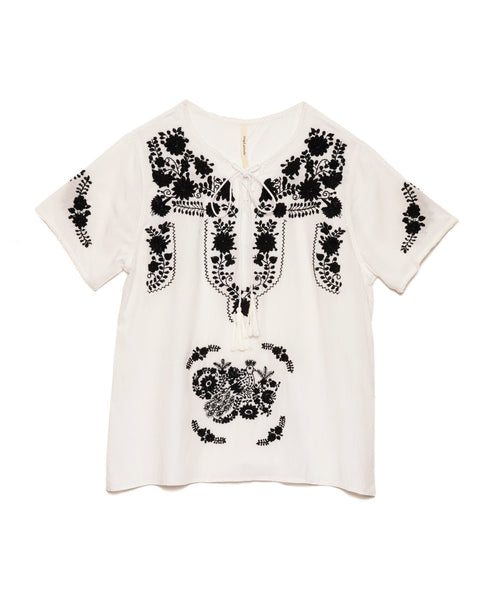White Rayon Black Mexican Embroidered Tunic Top
