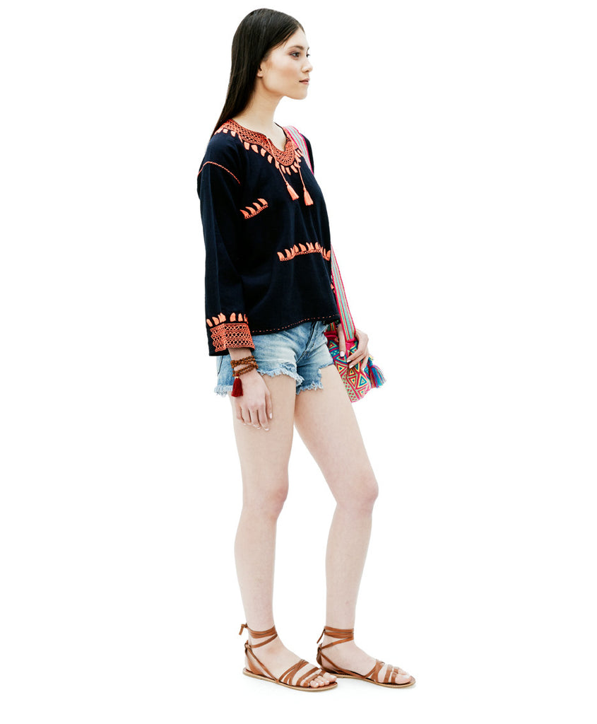 Navy Manta Flamingo Embroidered Dezso Tunic Top