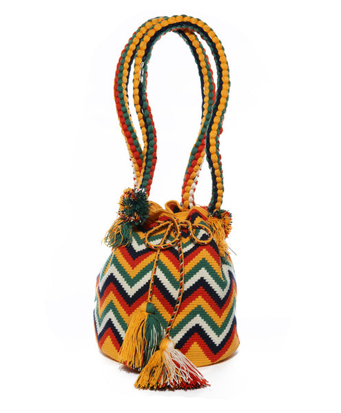 Yellow Green Multi Cotton Zig Zag Medellin Mochila Bag