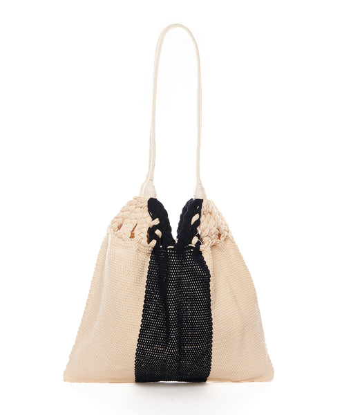 Navy Beige Stripe Cotton Large Salbeke Bag