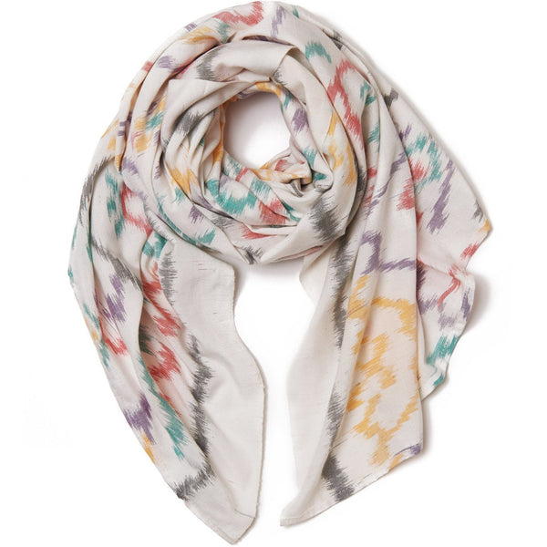 White Cotton Ikat Scarf & Sarong