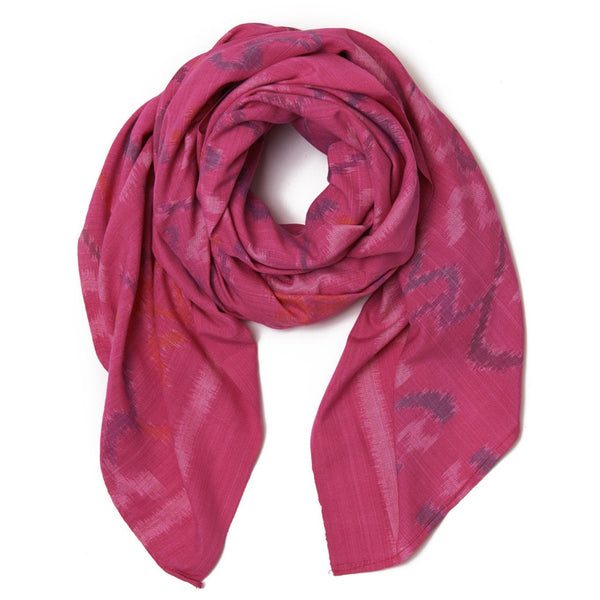 Fuchsia Cotton Ikat Scarf and Sarong