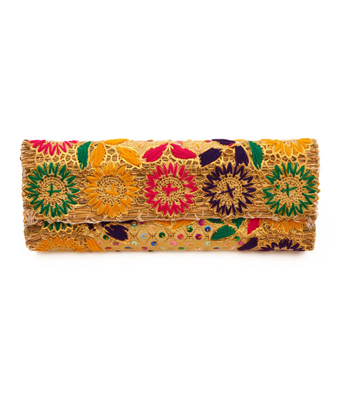 Multi Floral Raffia Applique Straw Clutch