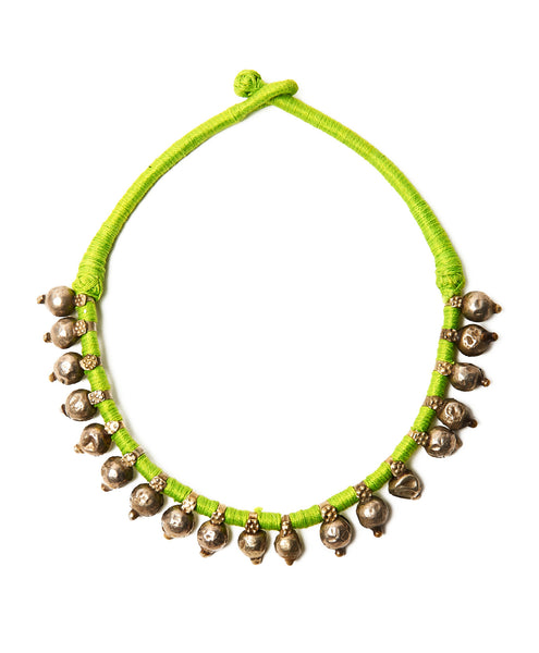 Neon Green Cotton Bandaru Short Necklace