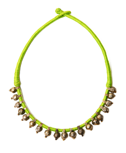 Neon Green Cotton Bandaru Long Necklace