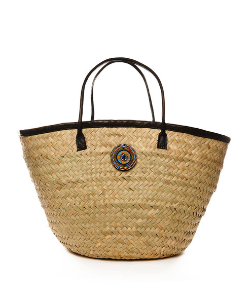 Tan Palm Woven Kikapu Leather Handle Basket