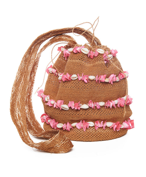 Tan and Bright Pink Shell Raffia Mochila Bag