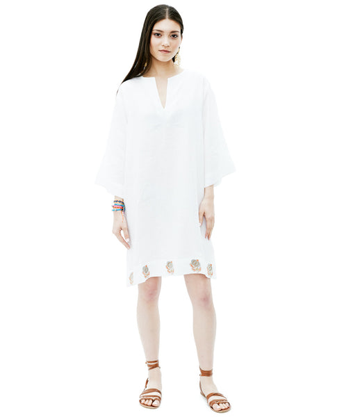 White Linen V-Neck Caftan with Embroidered Trim