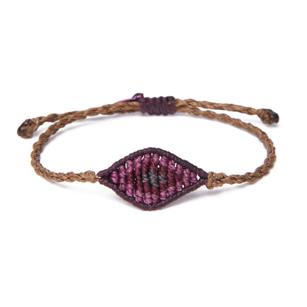 Purple Waxed Thread Mini All Seeing Eye Bracelet