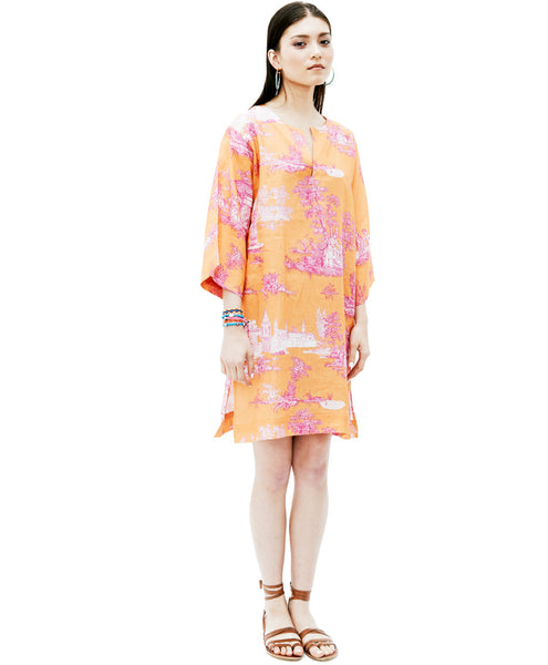 Orange Pink Print Linen Toile Hasbahce Tunic