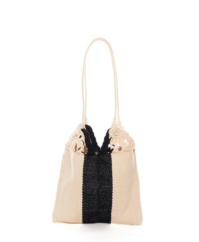 Navy Beige Stripe Cotton Mini Salbeke Bag