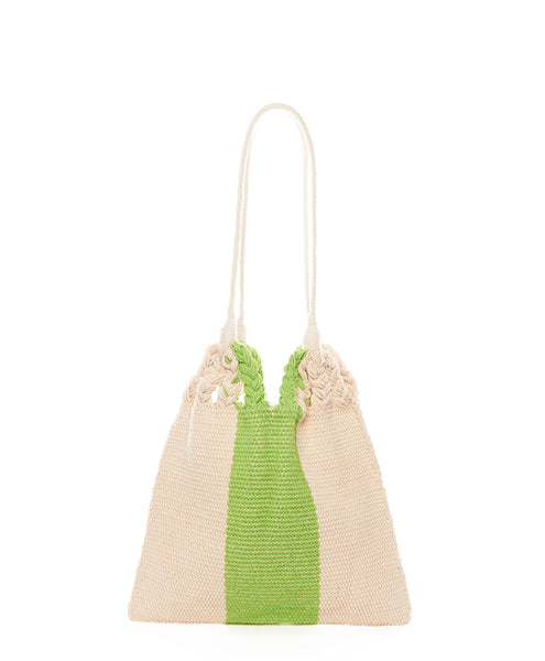 Green Beige Stripe Cotton Mini Salbeke Bag