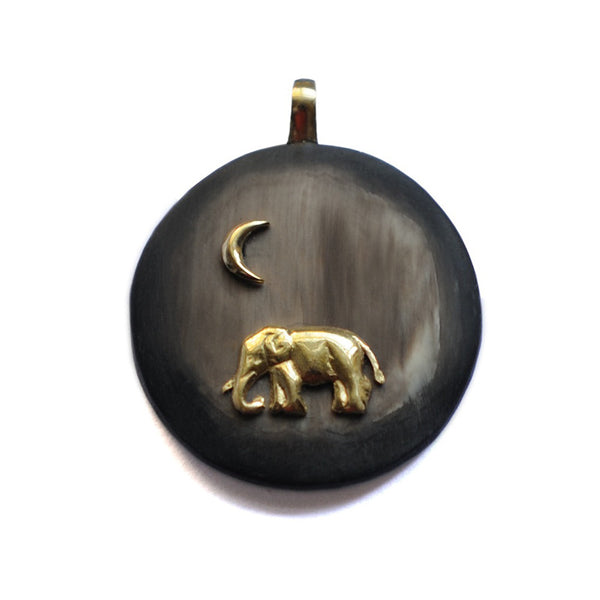 Black Moon and Elephant Round Pendant