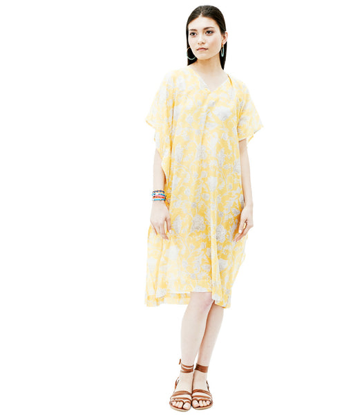 Yellow Multi Cotton Silk Vneck Sunshine Eres Caftan