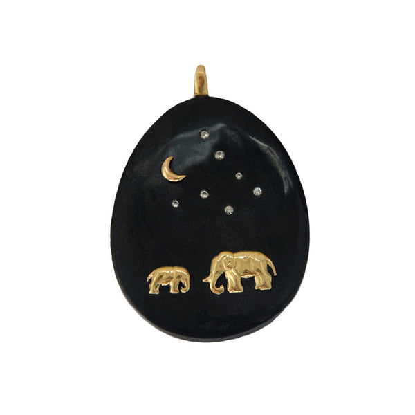 Black Cow Horn Adoption Elephant Tsavo Night Pendant