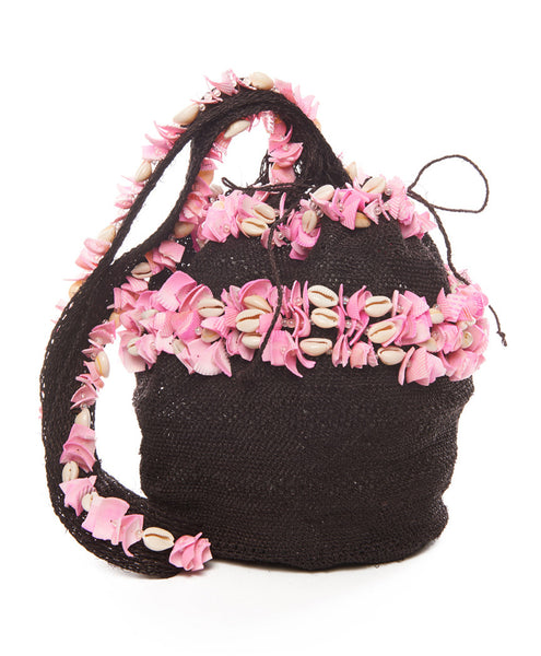 Chocolate and Pink Raffia Shell Mochila Bag