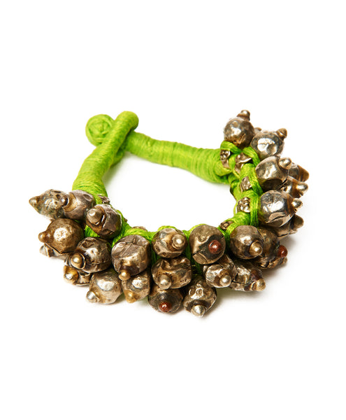Neon Green Cotton Thakur Spike Bracelet