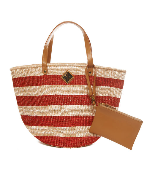 Red And Natural Abaca Fine Weave Straw Carrie Mini Tote