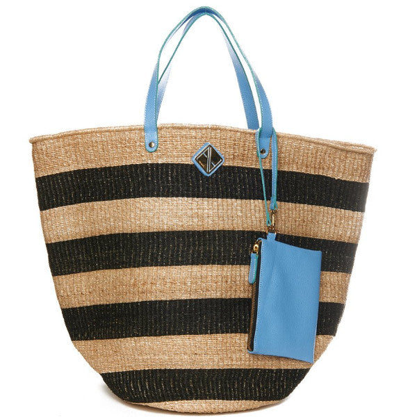 Blue And Natural Abaca Straw Carrie Tote