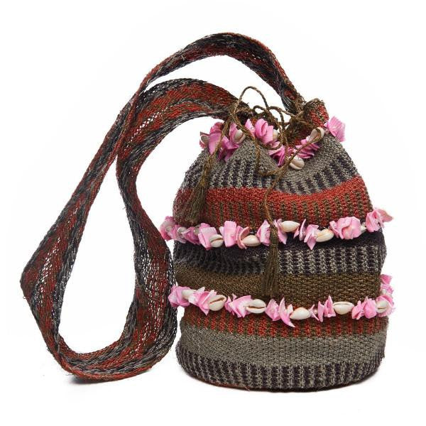 Grey Raffia Striped Pink Shell Mochila Bag