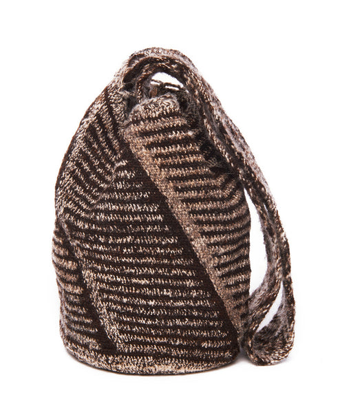 Brown Multi Wool Stripe Kutia Mochila Bag