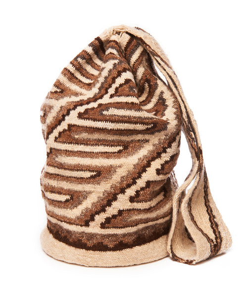 Tan Multi Wool Zig Zag Garwa Mochila Bag