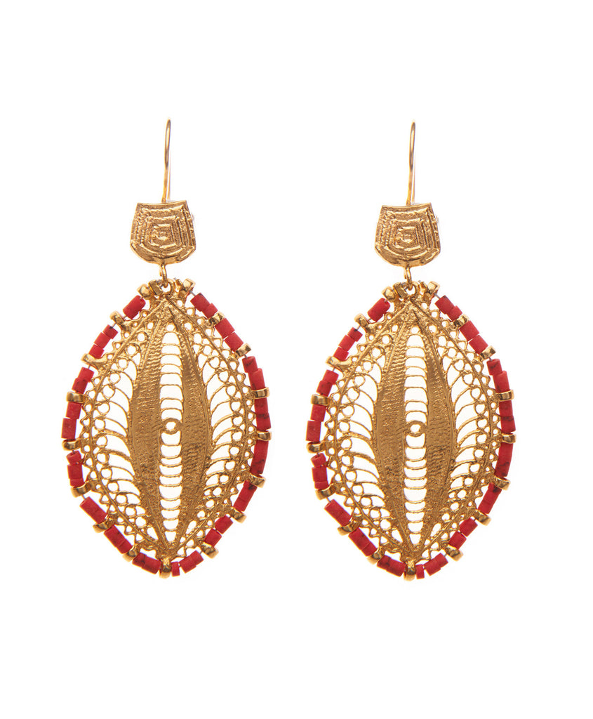 Coral Base Metal Filagree Earrings