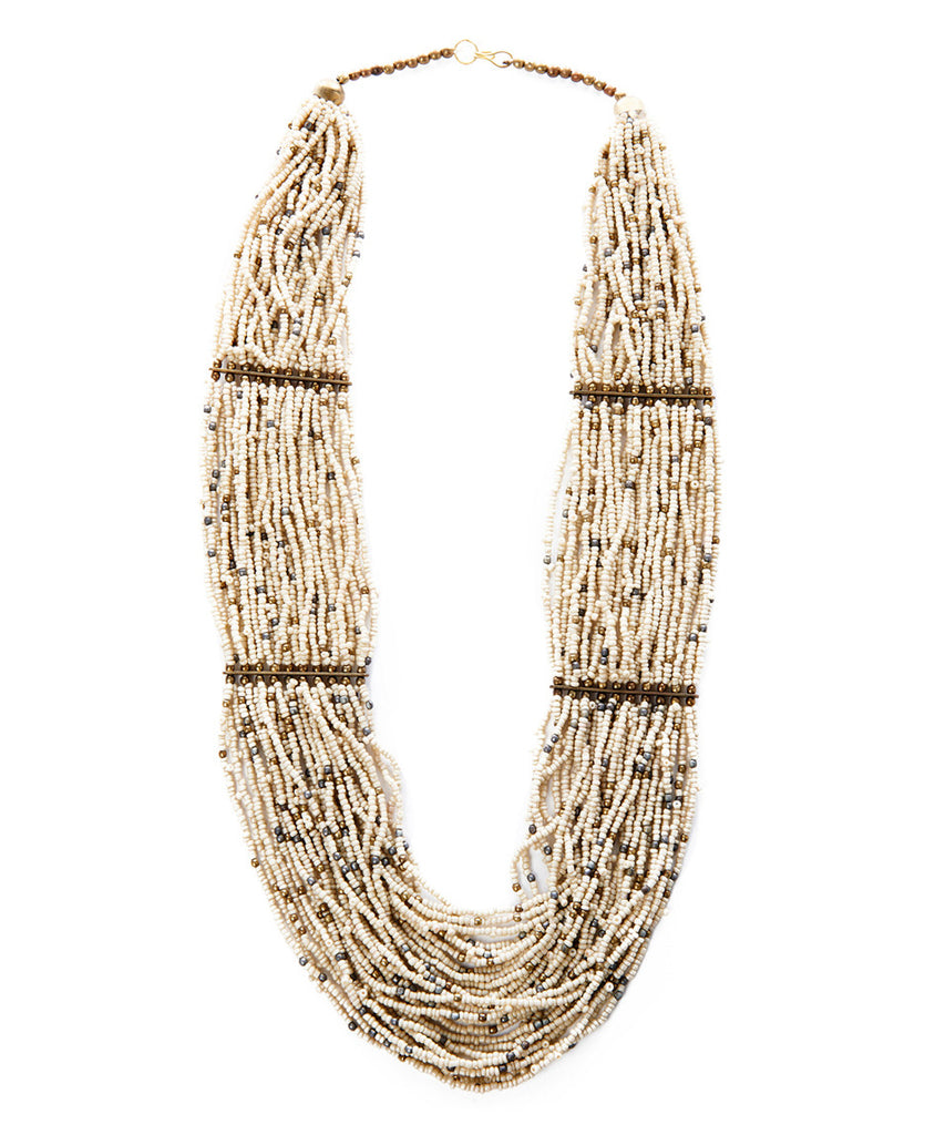 Beige Brass And Bead Bib Necklace