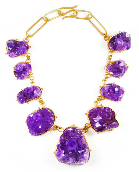 Gold  And Purple Gales Chain Necklace