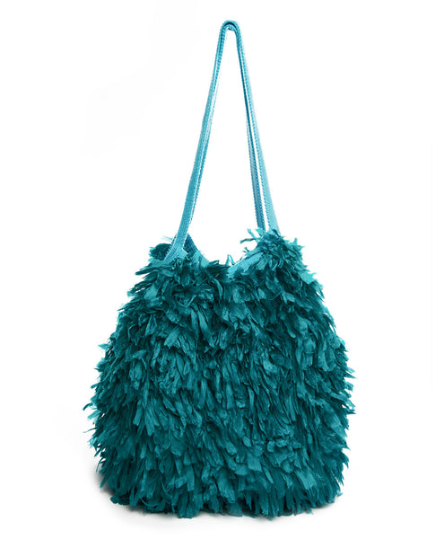 Turquoise Silk and Cotton Feather Bola Bag