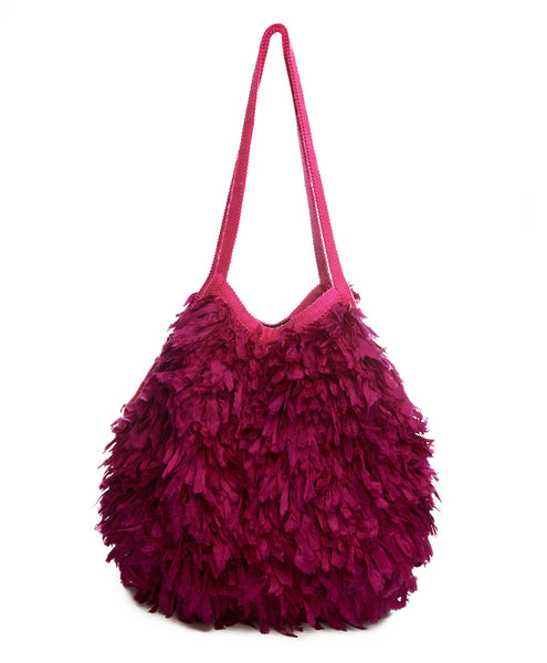 Fuchsia Silk and Cotton Feather Bola Bag