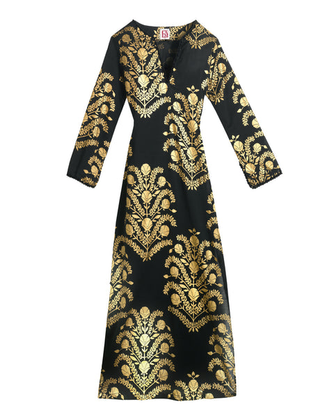 Black Gold Embellishment Cotton Long Sleeve Caftan