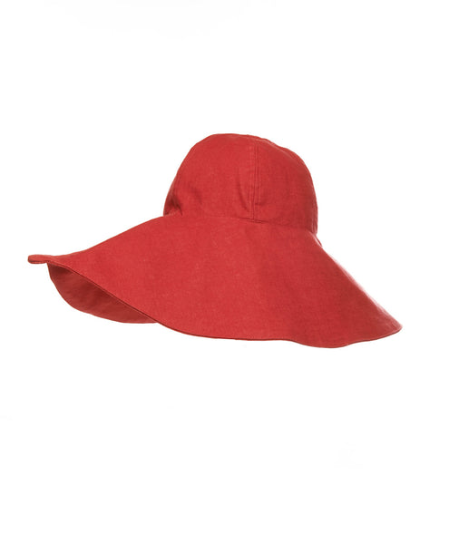 Red Linen Lip Hat
