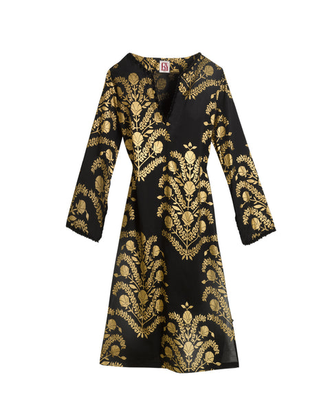 Black And Gold Cotton Short Caftan