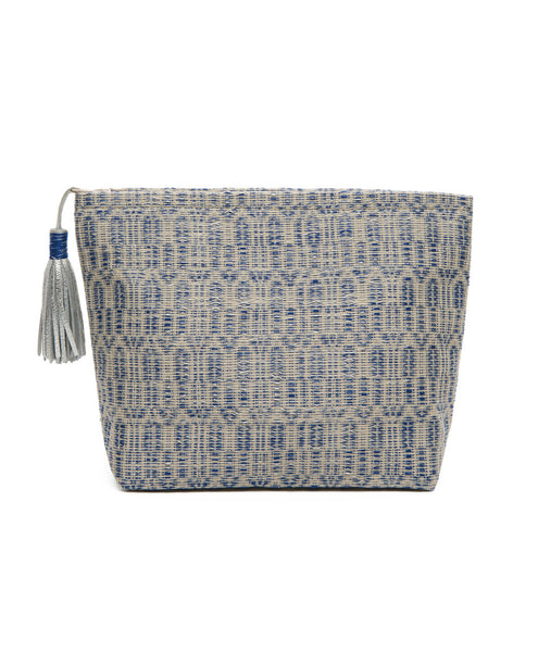 Blue Cotton Woven Silver Tassel Zip Pouch