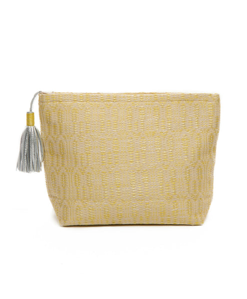 Yellow Cotton Woven Silver Tassel Zip Pouch