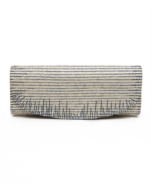 Blue Cotton Leather Strip Silver Lurex Rectangular Clutch