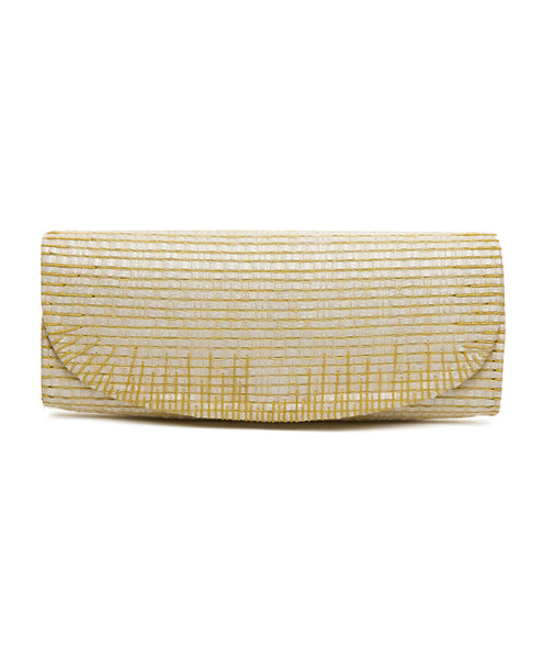 Yellow Cotton Leather Strip Rectangular Clutch