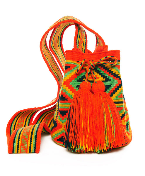Bright Orange Multi Cotton Mini Riohacha Tassel Bag
