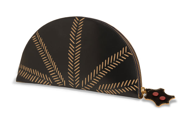 Black Leather Beige Branch Detail Half Moon Clutch