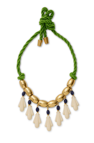 Green Cotton Cord Brass Bead Petal Necklace